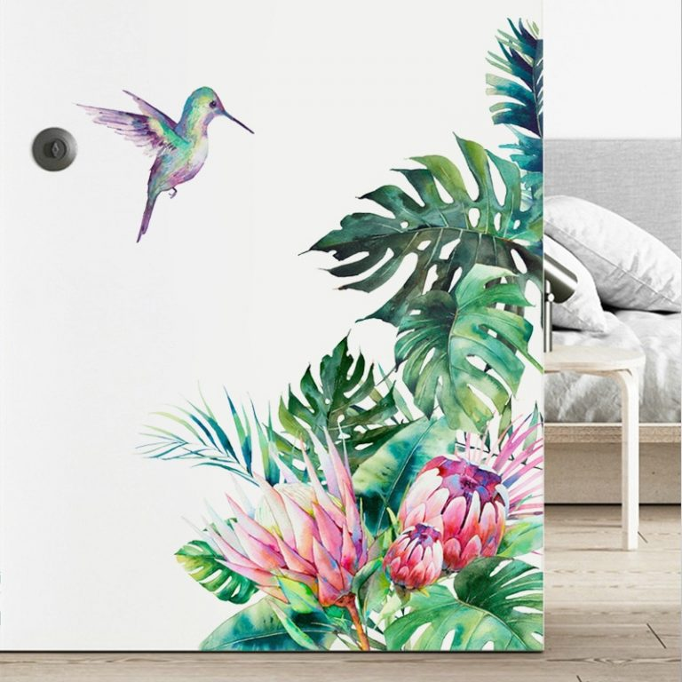 Tropical leaves flowers bird wall stickers bedroom living room decoration mural home decor decals removable stickers 4 / Shop Social Online Store