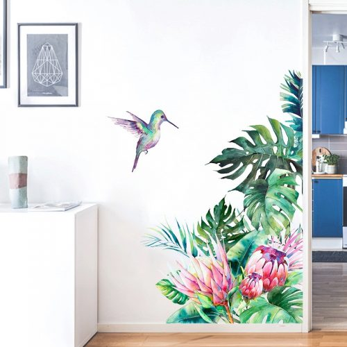 Floral Tropical Bird Wall Decal - Home Decor Stickers