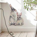 Two Cute Rabbits Wall Sticker