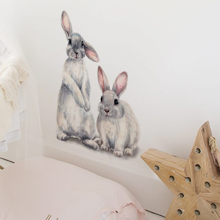 Two cute rabbits Wall sticker Children s kids room home decoration removable wallpaper living room bedroom 2 / Shop Social Online Store