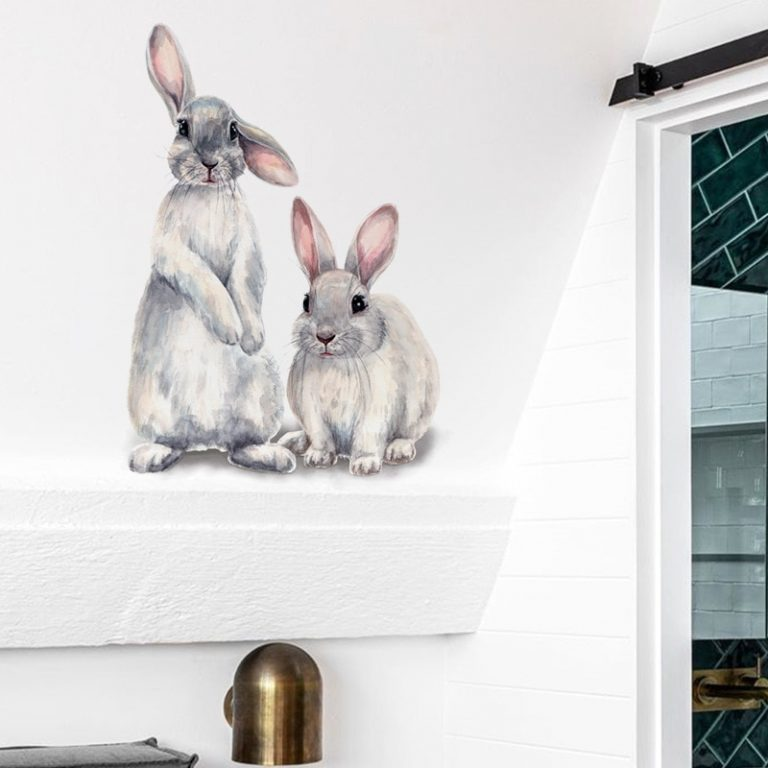 Two cute rabbits Wall sticker Children s kids room home decoration removable wallpaper living room bedroom 3 / Shop Social Online Store