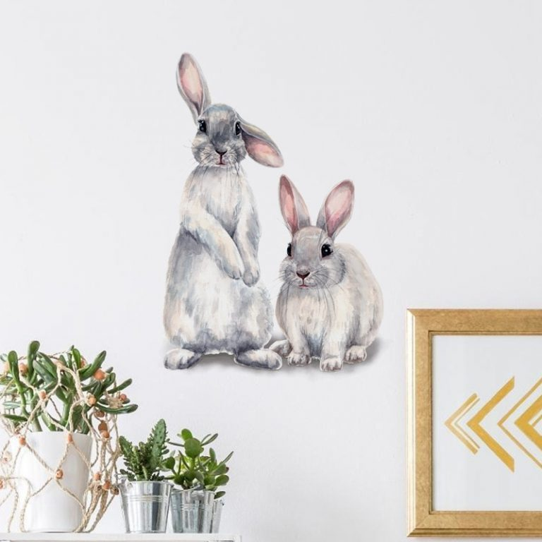 Two cute rabbits Wall sticker Children s kids room home decoration removable wallpaper living room bedroom 4 / Shop Social Online Store