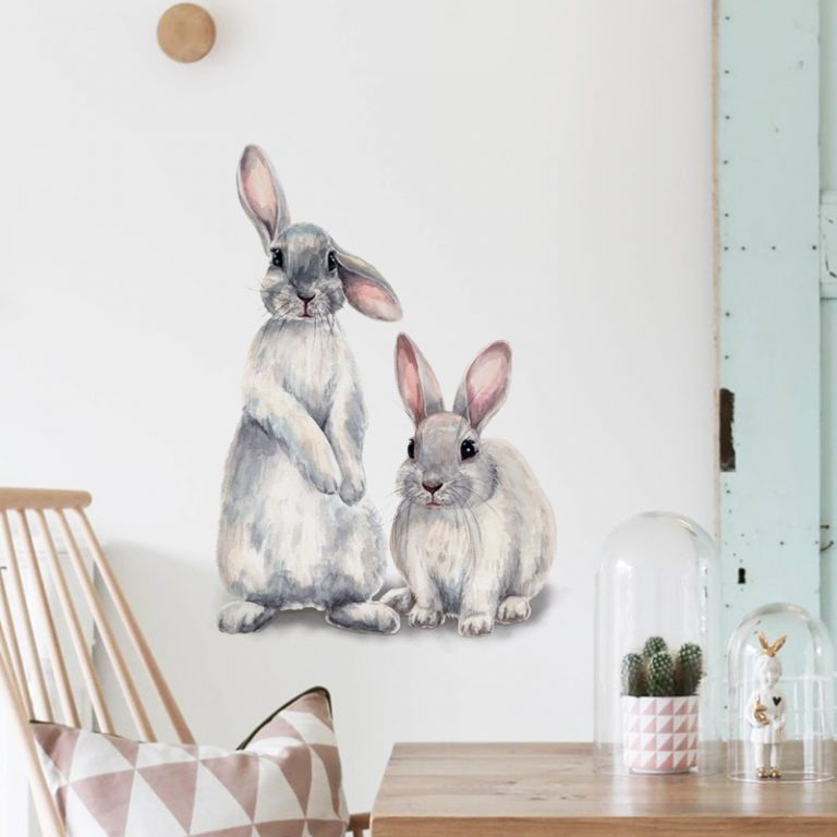 Two cute rabbits Wall sticker Children s kids room home decoration removable wallpaper living room bedroom 5 / Shop Social Online Store