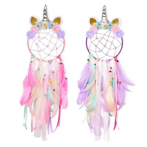Unicorn Dream Catcher Colorful Feather Dream Catchers Home Decor Wall Hanging for Girls Kids Room Christmas 1 / Shop Social Online Store