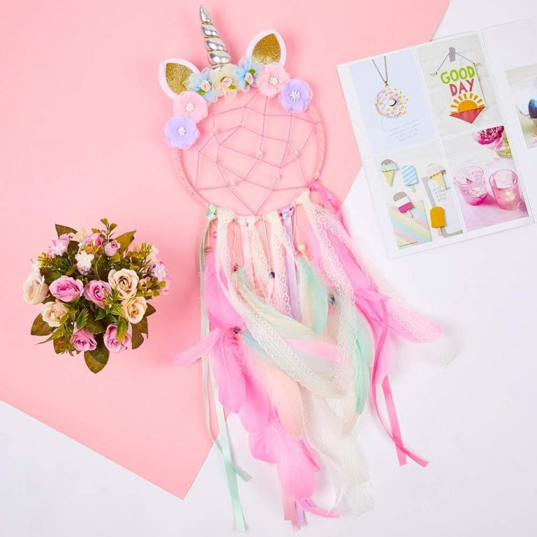Unicorn Dream Catcher Colorful Feather Dream Catchers Home Decor Wall Hanging for Girls Kids Room Christmas 2 / Shop Social Online Store