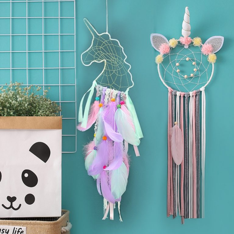 Unicorn Dream Catcher Colorful Feather Dream Catchers Home Decor Wall Hanging for Girls Kids Room Christmas 4 / Shop Social Online Store