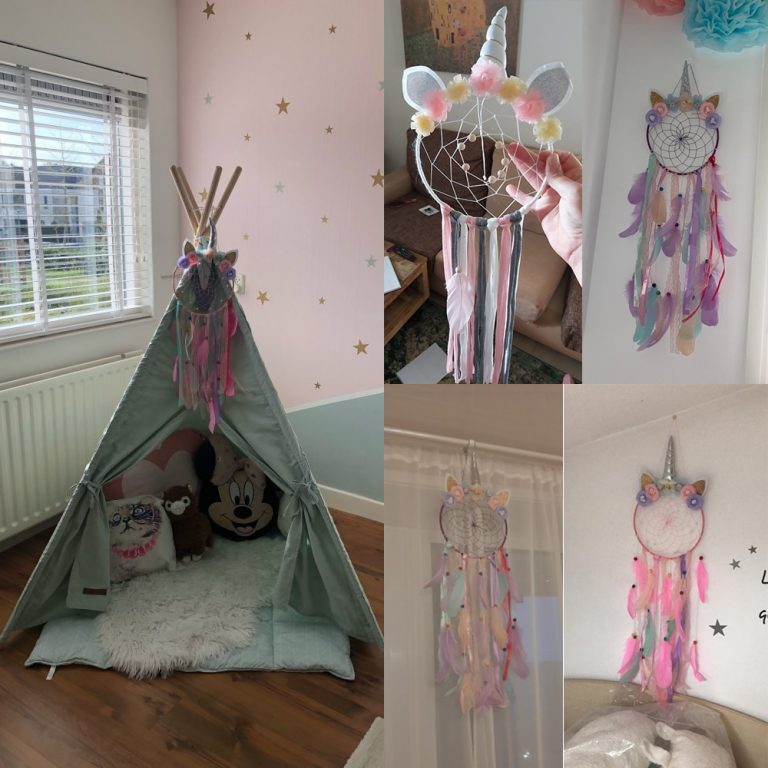 Unicorn Dream Catcher Colorful Feather Dream Catchers Home Decor Wall Hanging for Girls Kids Room Christmas 5 / Shop Social Online Store