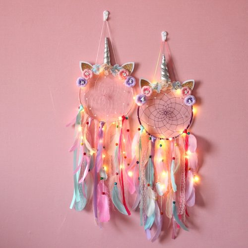 Unicorn Feather Dream Catcher for Girl Room Decor