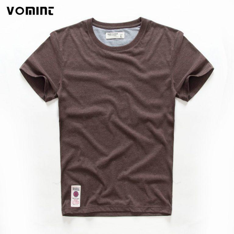 VOMINT hot sale New short sleeve men solid t shirt o neck soft solid cotton elastic / Shop Social Online Store