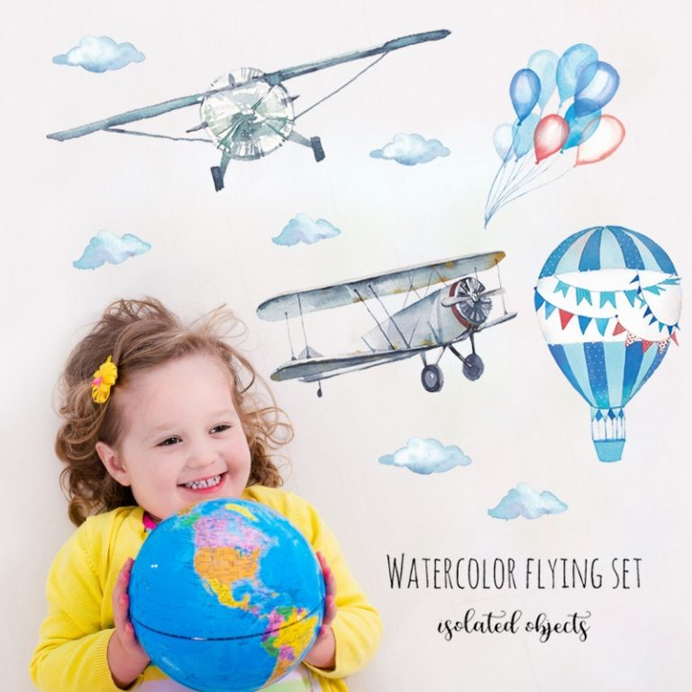 Watercolor airplane hot air balloon Wall Sticker kids baby rooms home decoration PVC Mural Decals nursery 2 / Shop Social Online Store