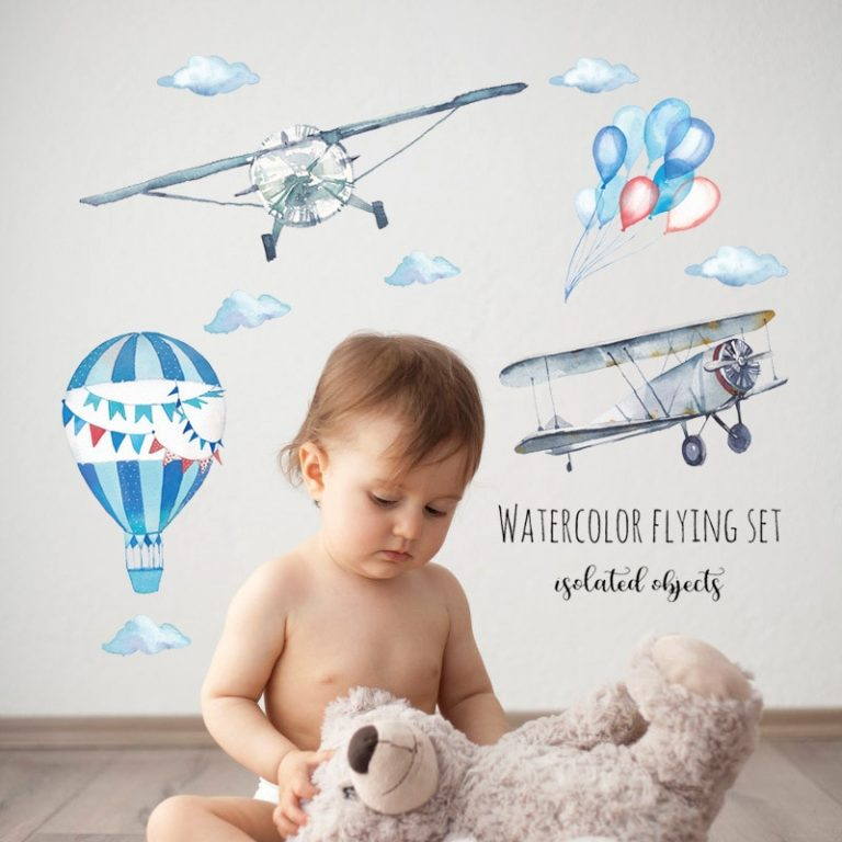 Watercolor airplane hot air balloon Wall Sticker kids baby rooms home decoration PVC Mural Decals nursery 3 / Shop Social Online Store