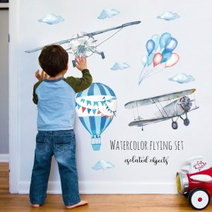 Watercolor airplane hot air balloon Wall Sticker kids baby rooms home decoration PVC Mural Decals nursery / Shop Social Online Store