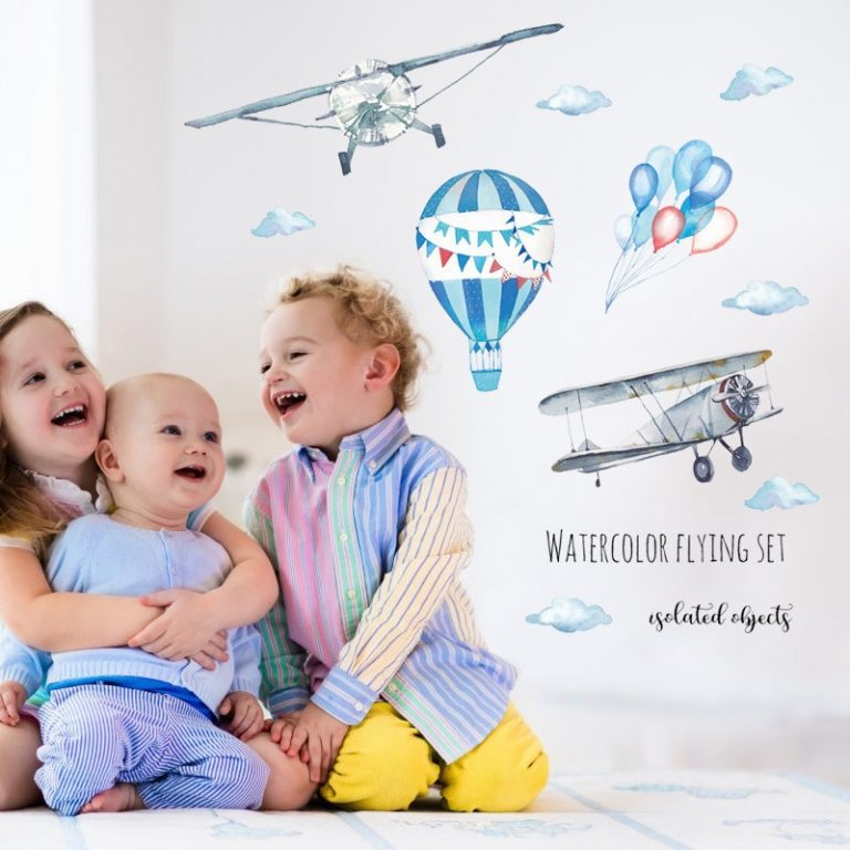 Watercolor airplane hot air balloon Wall Sticker kids baby rooms home decoration PVC Mural Decals nursery 4 / Shop Social Online Store