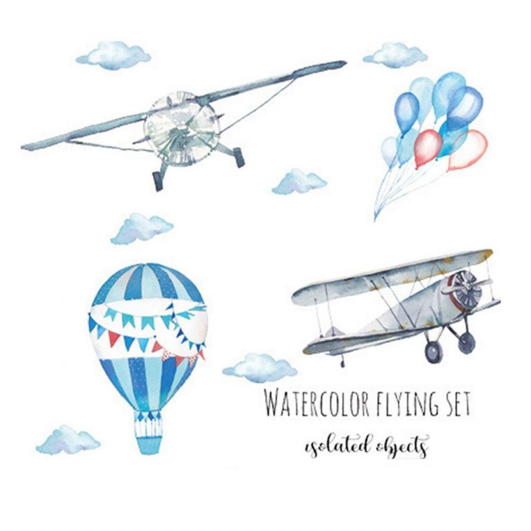 Watercolor airplane hot air balloon Wall Sticker kids baby rooms home decoration PVC Mural Decals nursery 5 / Shop Social Online Store