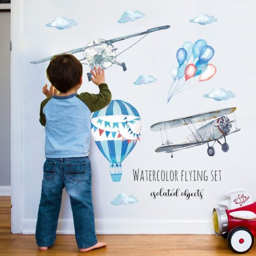 Airplane & Hot Air balloon Wall Sticker for Bedroom