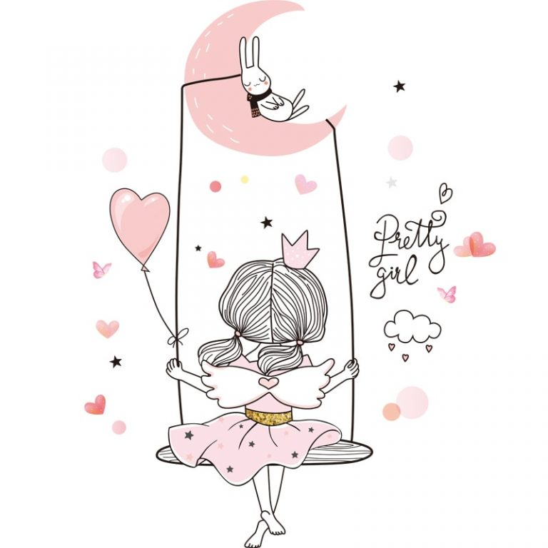 shijuekongjian Cartoon Girl Moon Wall Stickers DIY Balloon Mural Decals for Kids Rooms Baby Bedroom 2 / Shop Social Online Store