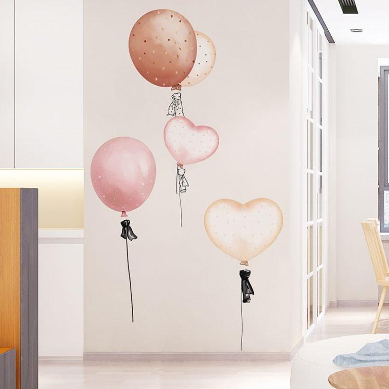shijuekongjian Cartoon Girl Moon Wall Stickers DIY Balloon Mural Decals for Kids Rooms Baby Bedroom 3 / Shop Social Online Store