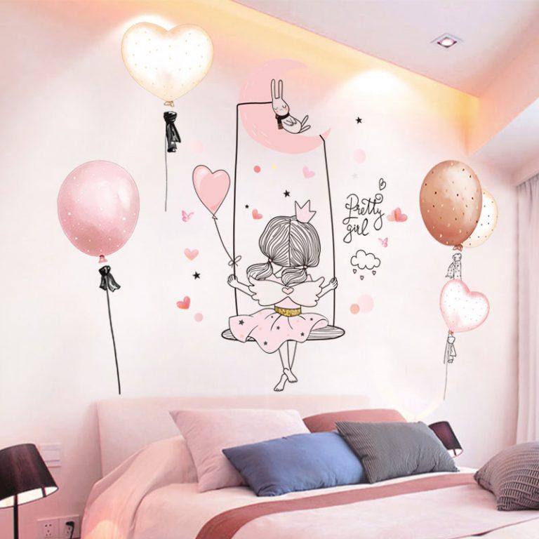 Cartoon Girl Moon Wall Stickers