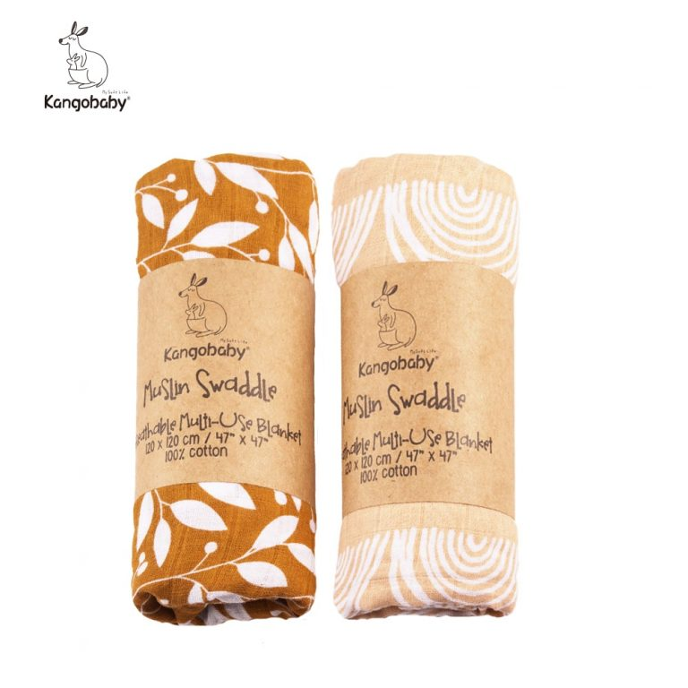 2 pieces pack Kangobaby muslin baby swaddle Blanket Newborn Baby Bath Towel Swaddle Blankets Multi Designs / Shop Social Online Store