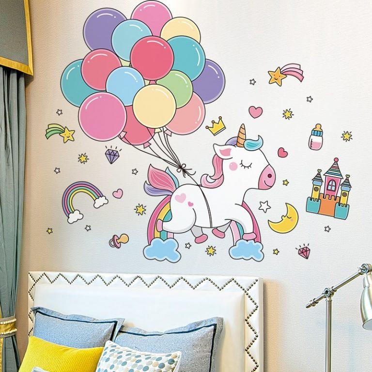 shijuekongjian Cartoon Balloons Stars Clouds Wall Stickers DIY Unicorn Animals Wall Decals for Kids Bedroom 1 / Shop Social Online Store