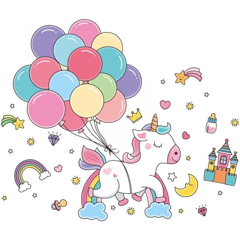 shijuekongjian Cartoon Balloons Stars Clouds Wall Stickers DIY Unicorn Animals Wall Decals for Kids Bedroom 2 / Shop Social Online Store