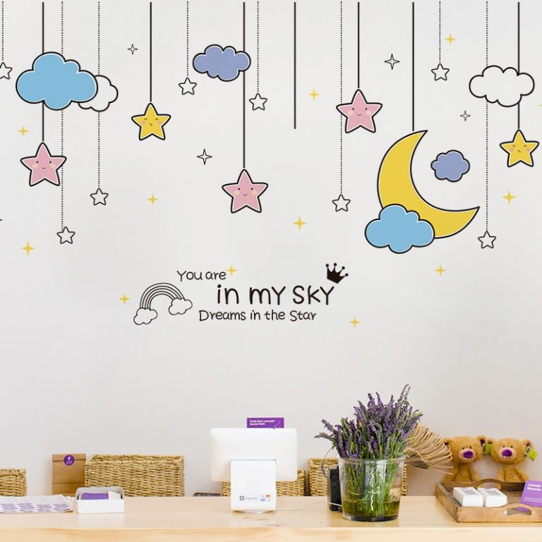 shijuekongjian Cartoon Balloons Stars Clouds Wall Stickers DIY Unicorn Animals Wall Decals for Kids Bedroom 3 / Shop Social Online Store
