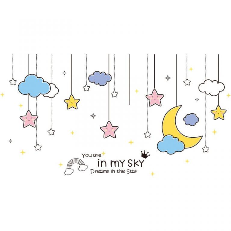 shijuekongjian Cartoon Balloons Stars Clouds Wall Stickers DIY Unicorn Animals Wall Decals for Kids Bedroom 4 / Shop Social Online Store