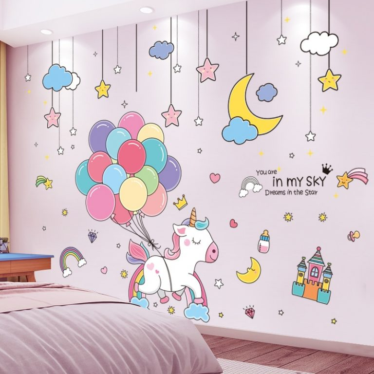 shijuekongjian Cartoon Balloons Stars Clouds Wall Stickers DIY Unicorn Animals Wall Decals for Kids Bedroom / Shop Social Online Store