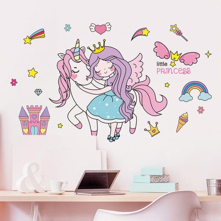 shijuekongjian Cartoon Girl Wall Stickers DIY Unicorn Animal Stars Wall Decals for Kids Bedroom Baby 1 / Shop Social Online Store
