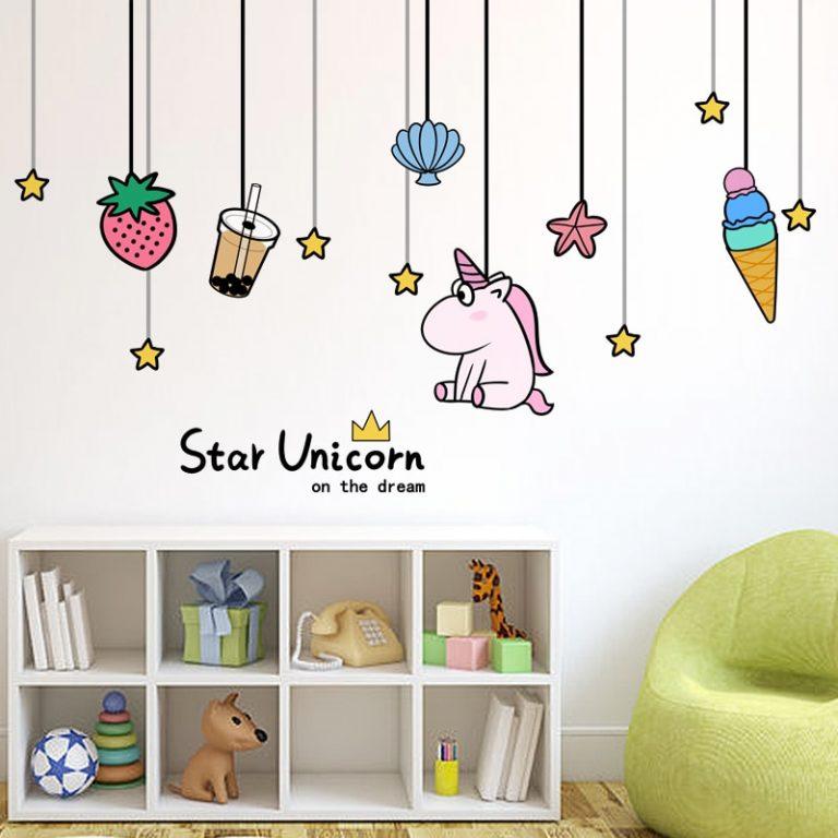shijuekongjian Cartoon Girl Wall Stickers DIY Unicorn Animal Stars Wall Decals for Kids Bedroom Baby 3 / Shop Social Online Store