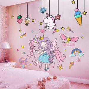 Girls Unicorn Bedroom Wall Decals
