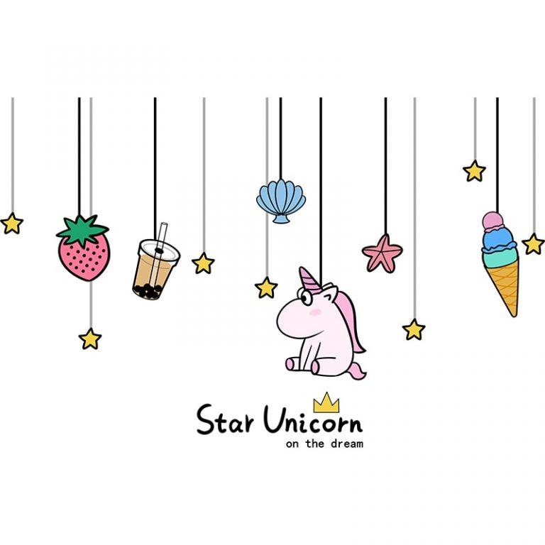 shijuekongjian Cartoon Girl Wall Stickers DIY Unicorn Animal Stars Wall Decals for Kids Bedroom Baby 4 / Shop Social Online Store