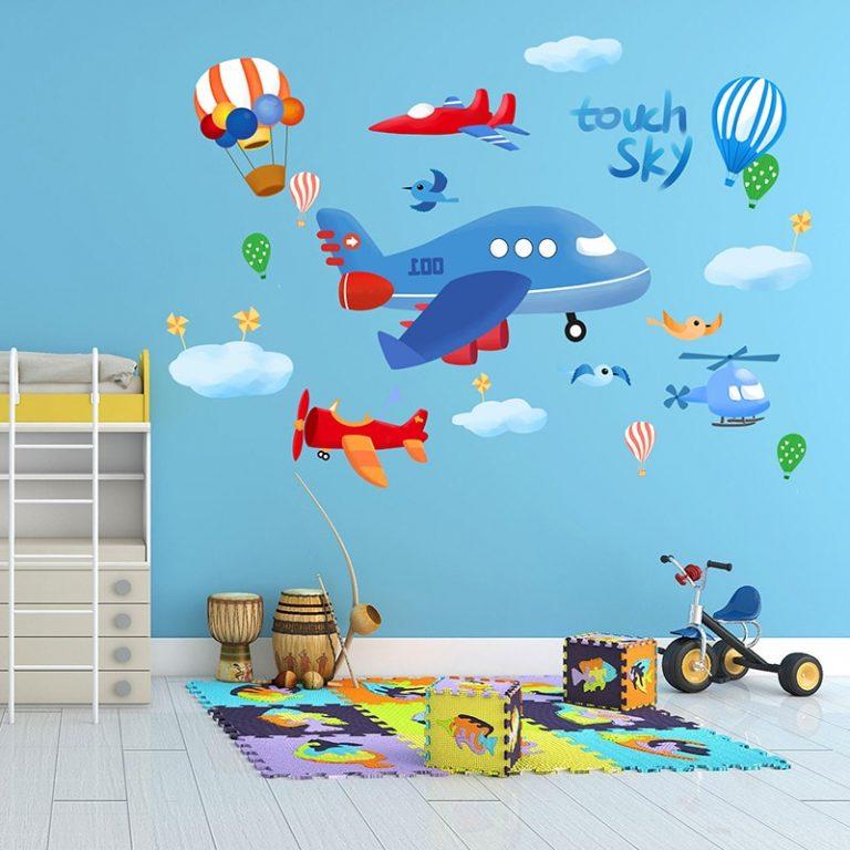 shijuekongjian Cartoon Rocket Wall Stickers DIY Airplane Clouds Mural Decals for Kids Rooms Baby Bedroom 3 / Shop Social Online Store