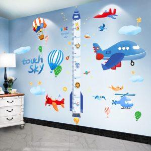 shijuekongjian Cartoon Rocket Wall Stickers DIY Airplane Clouds Mural Decals for Kids Rooms Baby Bedroom / Shop Social Online Store