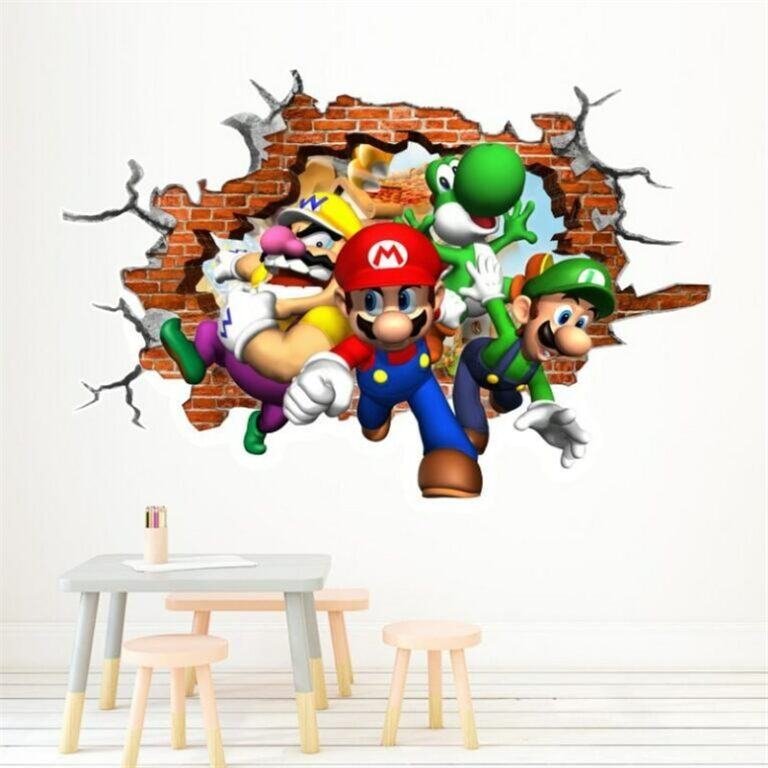 Cartoons super Mario Wall Stickers For Kids Room Home Decor Game poster Environmental protection PVC Stickers / Shop Social Online Store