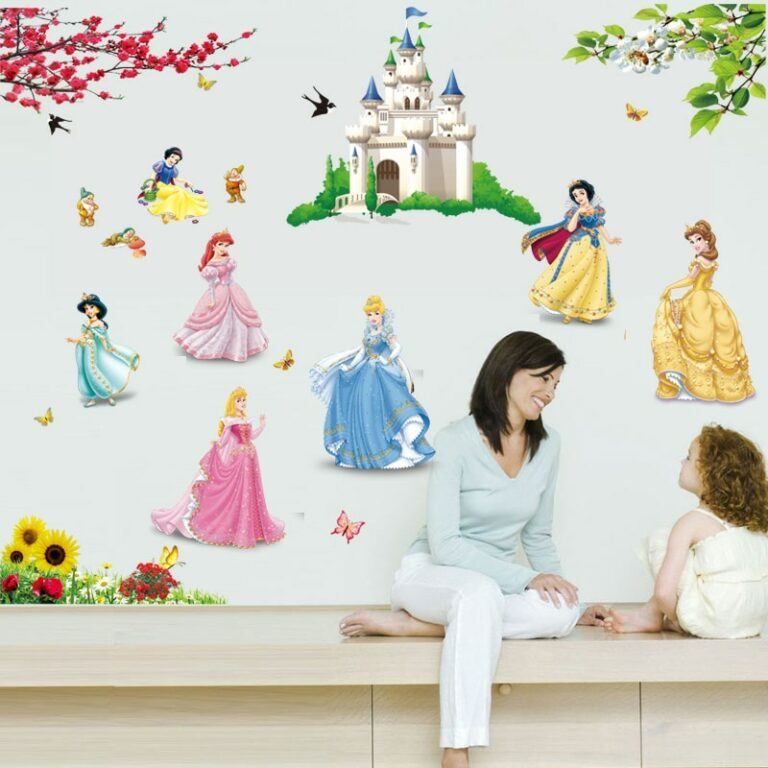 lovely castle Princess Wall Stickers For Kids Room Height Measure fairy tale Cartoon DIY Decoration Girl 1 / Shop Social Online Store