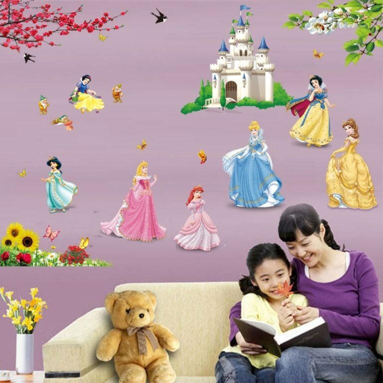 lovely castle Princess Wall Stickers For Kids Room Height Measure fairy tale Cartoon DIY Decoration Girl 2 / Shop Social Online Store