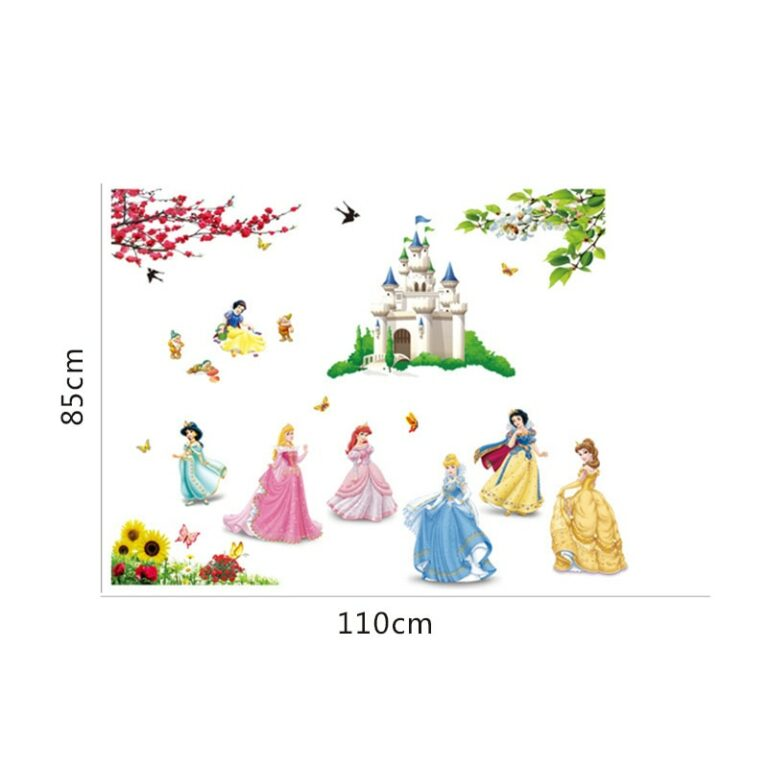 lovely castle Princess Wall Stickers For Kids Room Height Measure fairy tale Cartoon DIY Decoration Girl 3 / Shop Social Online Store
